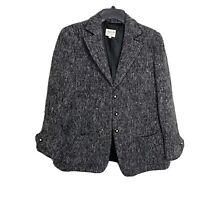 Armani Collezioni Sz 12 Black Gray Wool Tweed Blazer Jacket Sequins EUC Sparkle