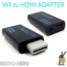 Wii HDMI Adapter Konverter Stick 1080p Full HD TV Audio 3,5mm AV Kabel schwarz