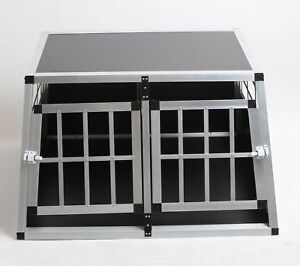Dog Pet Puppy Aluminium DoubleDoor Cage Transport Crate Car Travel Carrier Small
