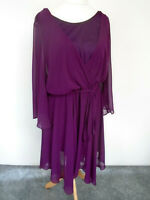 EVANS Scarlett & Dress Plus Size 24 Dark Purple Chiffon Lined Smart Occasion