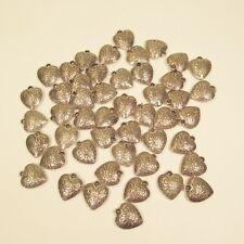 50 Pc Puffy Heart Antique Silver Color Charms Pendants Wholesale Bulk Lot