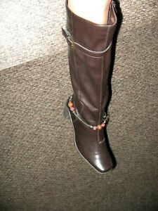 Knee High Brown Boots Size 8 Can Expand To a WIDE CALF Square Toe Vegan Leather