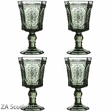 Amazing New Style Retro Set of 4 Baroque Wine Goblet Smoked Glass Drink Glass