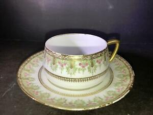 K) LIMOGES FRANCE COFFEE CUP SAUCER LS&S GOLD PINK FLOWERS GREEN
