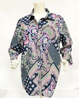 Lauren Ralph Lauren 100% Cotton Paisley Blue Pink Green Non-Iron Shirt Sz 2X