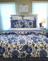 Pottery Barn Marianna Duvet Cover Set Blue Queen 2 Standard Shams Floral New