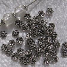 LOT DE 80 COUPELLES FLEURS 6MM INTERCALAIRES ARGENTÉS pour perles 8mm-12mm *S7