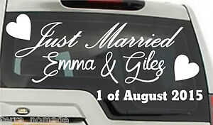 JUST MARRIED personalised car sticker  Romance Love Wedding Limo A1