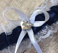 White & Navy  Wedding Garter Small Bride heart  Charm Little Rhinestone