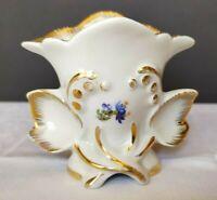 Kleine Porzellan Vase CH Hispania bemalt mit Blumenmotiv und Vergoldung