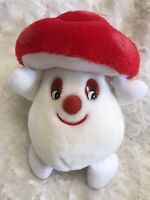 "vintage plush stuffed mushroom red white small 9"" tall"