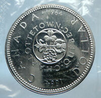 1964 CANADA Quebec Charlottetown Commemorative BIG SILVER Dollar Coin i74021