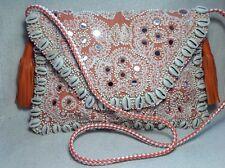 NEW Banjara boho mirror leather tassels embroidered clutch shoulder bag festival