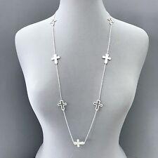 Unique Long Chain Silver Finish Outline Religious Cross Pendant Charms Necklace