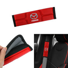 X2 Leather Red Memory foam Car Seat Belt Cover Shoulder Pads Cushion For Mazda