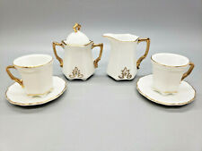 SET - Miniature Porcelain Tea Party Collection Cups Saucers Creamer Sugar Coffee
