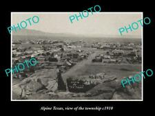OLD LARGE HISTORIC PHOTO OF ALPINE TEXAS, VIEW OF THE TOWNSHIP c1910