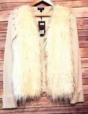 JONES NEW YORK womens size S cardigan sweater faux fur vest knit sleeves