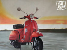 Vespa Scooter - Hand oil painting canvas POP ART Piaggio Vintage beach sunset