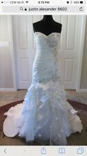 Justin Alexander Wedding Dress 100% Silk Size 12 Retail $3,000!