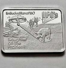 GREEN COUNTRY MINT GCM UFO Slaughter on Prairie 1 OZ .999 SILVER BAR only 150