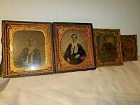 Vintage Antique Gem Framed  (4) Tin Type Photo Photographs Civil War Era