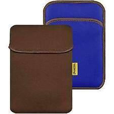 AMZER 8inch Reversible Neoprene Vertical Sleeve Pocket Chocolate Brown/Teal Blue