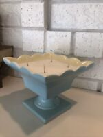 Vintage Candle - Soy Hull Pottery Pedestal Dish Blue Candy Bowl Planter Compote