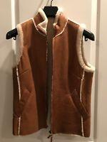 BURBERRY LONDON Brown Leather Zip Sheepskin Shearling Vest Coat Women Size 8