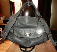 AUDREY BROOKE Pebbled Grey/Gray LEATHER Shoulder BAG