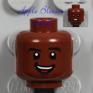 NEW Lego Dark FLESH MALE MINIFIG HEAD w/Brown Black Eye Brow Hair Boy Smile Grin