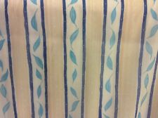 5m Yellow Blue Green Leaf Stripe Voile Fabric FREE POSTAGE