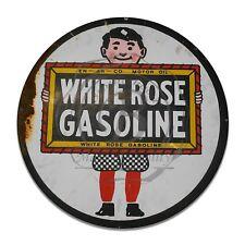 White Rose Gasoline EN-AR-CO Motor Oil Reproduction Circle Aluminum Sign