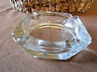 "VINTAGE ASHTRAY  CLEAR GLASS  SQUARE 4"" MID CENTURY MODERN RETRO"