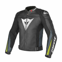 DAINESE SUPER SPEED-R LEATHER JACKET MOTORBIKE-MOTORCYCLE BLACK / YELLOW-Replica