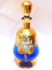 Vintage Bohemian Czech Hand Painted Blue Glass Wine Bottle Decanter 24k gold