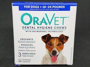 NEW OraVet Dental Hygiene Chews Dogs 10-24 lbs - Qty. 3 Chews