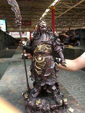 Tibetan Red Bronze Copper Nine Dragon Guan Gong Guan Yu warrior Buddha Statue