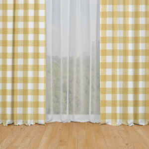 Carolina Linens Rod Pocket Curtains in Anderson Brazilian Yellow Buffalo Check