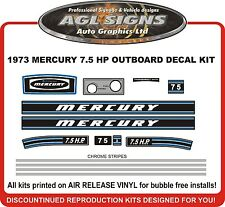 1973  MERCURY 7.5 hp  Outboard decal set   reproductions  9.8 HP   75 110