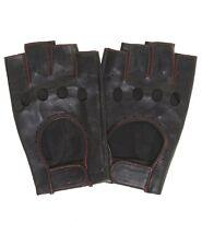 Pratt & Hart Chariot Black Men's 1/2 Finger Leather Driving Gloves (Fingerless)