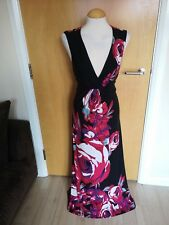 Ladies MONSOON DRESS Size 14 Black Pink Floral Long Maxi Stretch Party Evening