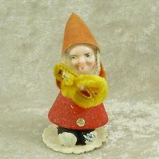"Vintage Cardboard Elf Hard Plastic Face w/ Horn Christmas Figurine 3"" - Japan"