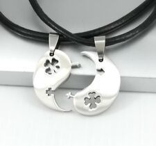 Yin Yang Tai Chi Celtic Shamrock Clover Pendant Him & Hers Lover Couple Necklace
