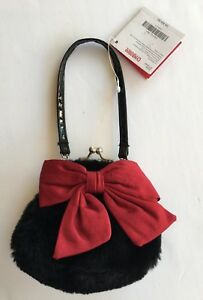 NWT Gymboree Holiday Pictures Black Faux Fur Purse with Red Bow