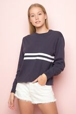 New! brandy Melville faded navy/white striped long sleeve acacia top NWT S/M