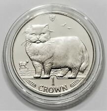 1989 Isle of Man Persian Cat - 1 Crown Coin