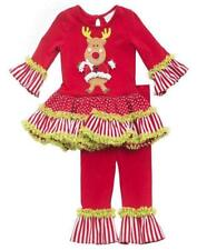 New Girls Rare Editions sz 4T Red Lime DANCING REINDEER Christmas outfit Clothes