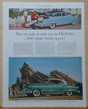 1953 magazine ad for DeSoto - 44% More Trunk Space, Take It With You, colorful