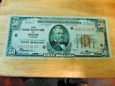 1929 National Currency $50 Federal Reserve Bank of Chicago Illinois